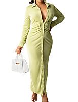 cheap -Women's A Line Dress Maxi long Dress Blushing Pink Khaki Green Long Sleeve Solid Color Ruched Fall Winter Shirt Collar Casual 2021 S M L XL