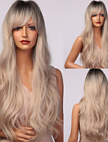 cheap -HAIR CUBE Long Wavy White Blonde Black Ombre Synthetic Wig Natural Hair Wigs for Women Cosplay Wigs With Bangs Heat Resistant