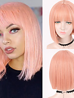 cheap -Brazilian Short straight wig Synthetic wig Full Head Black Women's heat resistant wig Female Pink Gold
