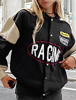 cheap -Women's Jacket Street Daily Going out Fall Winter Regular Coat Single Breasted Round Neck Regular Fit Warm Breathable Casual Jacket Long Sleeve Color Block Letter Pocket Print Black Red