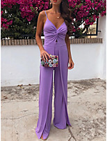 cheap -Jumpsuits Minimalist Elegant Holiday Party Wear Dress Spaghetti Strap Sleeveless Floor Length Spandex with Ruched Split 2021