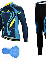 cheap -21Grams Men's Long Sleeve Cycling Jersey with Tights Spandex Blue Bike Quick Dry Moisture Wicking Sports Patterned Mountain Bike MTB Road Bike Cycling Clothing Apparel / Stretchy / Athletic