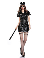 cheap -Police Cosplay Costume Adults' Women's Halloween Halloween Halloween Carnival Festival / Holiday Terylene Black Women's Easy Carnival Costumes Solid Color / Dress / Gloves / Hat