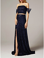 cheap -Two Piece Sheath / Column Glittering Sparkle Wedding Guest Formal Evening Dress V Neck Short Sleeve Sweep / Brush Train Sequined with Split 2021