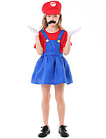 cheap -Cosplay Cosplay Costume Kid's Girls' Halloween Halloween Halloween Festival / Holiday Terylene Red Easy Carnival Costumes Solid Color / Dress
