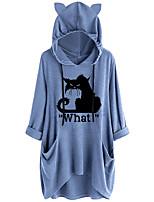 cheap -Women's Shift Dress Short Mini Dress Blue Yellow Dusty Rose Gray Half Sleeve Cat Animal Pocket Plus High Low Print Fall Hooded Casual 2021 S M L XL XXL 3XL 4XL 5XL