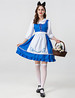 cheap -Maid Costume Dress Adults' Women's Halloween Halloween Festival / Holiday Terylene Blue Women's Easy Carnival Costumes Solid Color / Apron / Headwear