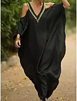 cheap -Women's Sundress Maxi long Dress Blue Black Short Sleeve Print Print Summer V Neck Elegant 2021 One-Size