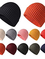 cheap -Men's Protective Hat Street Dailywear Knitted Pure Color Black Hat