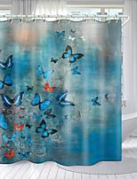 cheap -Cartoon Butterfly Digital Printing Shower Curtain Shower Curtains Hooks Modern Polyester New Design