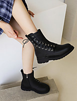 cheap -Women's Boots Flat Heel Round Toe Booties Ankle Boots Daily Outdoor Faux Leather Lace-up Solid Colored Black Beige / Booties / Ankle Boots