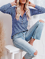 cheap -Women's T shirt Plain Long Sleeve Button V Neck Basic Tops Regular Fit Blue Gray Black