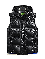 cheap -Men's Gilet Street Daily Going out Fall Winter Regular Coat Zipper Single Breasted Hoodie Regular Fit Thermal Warm Breathable Sporty Casual Jacket Sleeveless Plain Full Zip Pocket Blue Silver Black