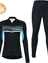 cheap -21Grams Women's Long Sleeve Cycling Jersey with Tights Winter Fleece Spandex Black Stripes Bike Quick Dry Moisture Wicking Sports Stripes Mountain Bike MTB Road Bike Cycling Clothing Apparel