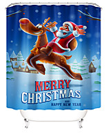 cheap -Christmas Shower Curtain Bathroom with  Hooks Contemporary Polyester Waterproof