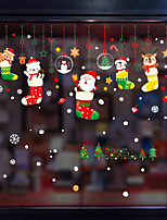 cheap -Christmas Cartoon Christmas Stocking Window Film Cling Vinyl Home Decor For Window Cabinet Door Sticker Window Sticker - 20*30CM*9