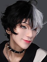 cheap -Men short wig Black white split body synthetic wig belt bangs boy costume anime role-playing wig micro roll natural hair