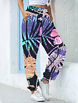 cheap -Women's Fashion Athleisure Breathable Sports Pants Sweatpants Casual Daily Pants Leaf Full Length Elastic Drawstring Design Print Rainbow