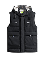cheap -Men's Gilet Street Daily Going out Fall Winter Regular Coat Zipper Hoodie Regular Fit Thermal Warm Breathable Sporty Casual Jacket Sleeveless Plain Full Zip Pocket Black Beige Light Blue / Outdoor