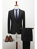 cheap -Men's Wedding Suits 2 pcs Notch Standard Fit Single Breasted One-button Straight Flapped Solid Colored Wool