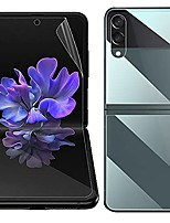 cheap -front outer screen protector, inner screen protector, back cover soft tpu film compatible with samsung galaxy z flip 3 5g hydrogel support fingerprint (anti-glare)