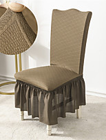cheap -Stretch Kitchen Chair Cover Slipcover Jacquard for Dinning Party Coffee With Skirt Soft Comfortable Firm Elegant Chairs Covers