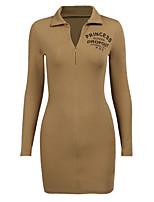 cheap -Women's Sheath Dress Short Mini Dress Fabric: pit strip khaki White Long Sleeve Solid Color Knitted Fall Spring Shirt Collar Sexy Fine Stripe S M L