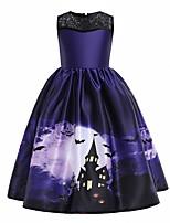 cheap -Kids Little Girls' Dress Graphic Party Print Purple Maxi Sleeveless Princess Costume Dresses Halloween Fall Winter Slim 4-12 Years