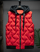 cheap -Men's Hiking Vest Quilted Puffer Vest Down Vest Down Winter Outdoor Thermal Warm Windproof Lightweight Breathable Hoodie Winter Jacket Trench Coat Skiing Fishing Climbing Former 9913 gray A 9913 red