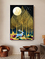 cheap -Wall Art Canvas Prints Painting Artwork Picture  Deer Tree Moon Home Decoration Decor Rolled Canvas No Frame Unframed Unstretched