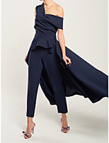 cheap -Jumpsuits Peplum Elegant Wedding Guest Formal Evening Dress Off Shoulder Sleeveless Ankle Length Stretch Fabric with Criss Cross 2021