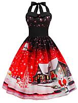 cheap -Santa Suit Audrey Hepburn Dress Swing Dress Adults' Women's Vintage Festival Christmas New Year Festival / Holiday Terylene Purple / Blue / Fuchsia Women's Easy Carnival Costumes Snowflake