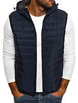 cheap -Men's Vest Gilet Street Daily Going out Fall Winter Regular Coat Zipper Hoodie Regular Fit Thermal Warm Breathable Sporty Casual Jacket Sleeveless Solid Color Quilted Full Zip Blue Yellow Wine