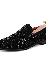 cheap -Men's Loafers & Slip-Ons Novelty Shoes Comfort Loafers Dress Loafers Casual Daily Party & Evening PU Handmade Non-slipping Black Fall Spring / Rhinestone