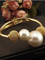 cheap -Women's Pearl Cuff Bracelet Geometrical Vertical / Gold bar Stylish Alloy Bracelet Jewelry Golden / White / Black For Gift Daily Work Festival