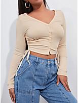 cheap -Women's Crop Tshirt T shirt Plain Long Sleeve Button V Neck Sexy Tops Khaki