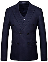cheap -Men's Wedding Suits 3 pcs Notch Tailored Fit Double Breasted Six-buttons Patch Pocket Striped Cotton