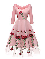 cheap -Women's A Line Dress Midi Dress Blushing Pink White Black Half Sleeve Floral Layered Print Fall V Neck Casual 2021 S M L XL XXL 3XL 4XL