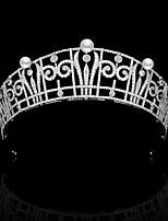 cheap -Vintage Royal Family Belgian Princess Claire Pearl Zircon Crown Princess Headdress Bride Wedding Hair Accessories