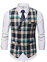 cheap -Men's Vest Gilet Wedding Work Fall Winter Regular Coat Regular Fit Thermal Warm Casual Jacket Sleeveless Plaid / Check Pocket Print Green