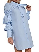 cheap -Women's Shirt Dress Short Mini Dress Blue Half Sleeve Solid Color Puff Sleeve Bow Fall Winter Shirt Collar Active Elegant Casual 2021 S M L XL