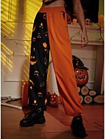 cheap -Women's Casual Pants Chinos Halloween Pants Halloween pattern Full Length Print Orange