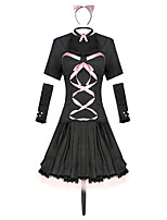 cheap -Cosplay Dress Cosplay Costume Adults' Women's Halloween Halloween Festival Halloween Festival / Holiday Terylene Black Women's Easy Carnival Costumes Solid Color / Headwear / Neckwear