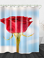 cheap -Beautiful Rose Printed Waterproof Fabric Shower Curtain Bathroom Home Decoration Covered Bathtub Curtain Lining Including hooks.