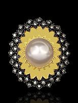 cheap -Women Ring Pearl Geometrical Gold / Black Brass Floral Theme Artistic Vintage European 1pc / Women's