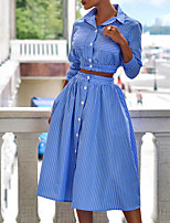 cheap -Women's Women Streetwear Striped Printing Dress Work Two Piece Set Blouse Crop Skirt Print Bell Sleeve Tops
