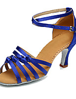 cheap -Women's Latin Shoes Simple High Heel dark brown Blue Light Brown Satin