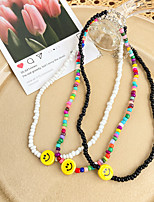 cheap -Choker Necklace Beaded Necklace Women's Beads Imitation Pearl Laugh Dainty Simple Fashion European Sweet Lovely Rainbow White Black 38+7 cm Necklace Jewelry 1pc for Wedding Street Daily Carnival