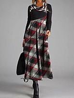 cheap -Women's Swing Dress Maxi long Dress Purple Wine Long Sleeve Plaid Color Block Patchwork Fall Turtleneck Casual 2021 S M L XL XXL 3XL