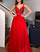 cheap -A-Line Empire Floral Wedding Guest Formal Evening Dress V Neck Sleeveless Floor Length Lace Tulle with Pleats Appliques 2021
